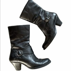 Born Mid Calf Boots Black Leather size 8